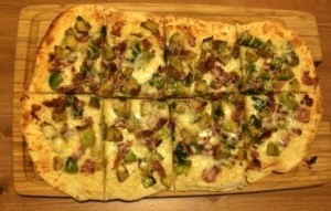 bacon and brussels sprout fladbread